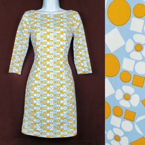 J. MCLAUGHLIN Blue Floral Geo Print Mari Dress XS